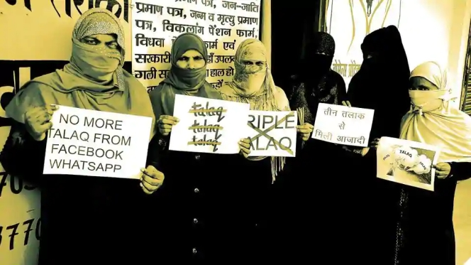 Muslim women protesting against Triple Talaq